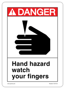 CYANVIS safety sign legend, ANSI - Danger - HAND HAZARD WATCH YOUR FINGERS