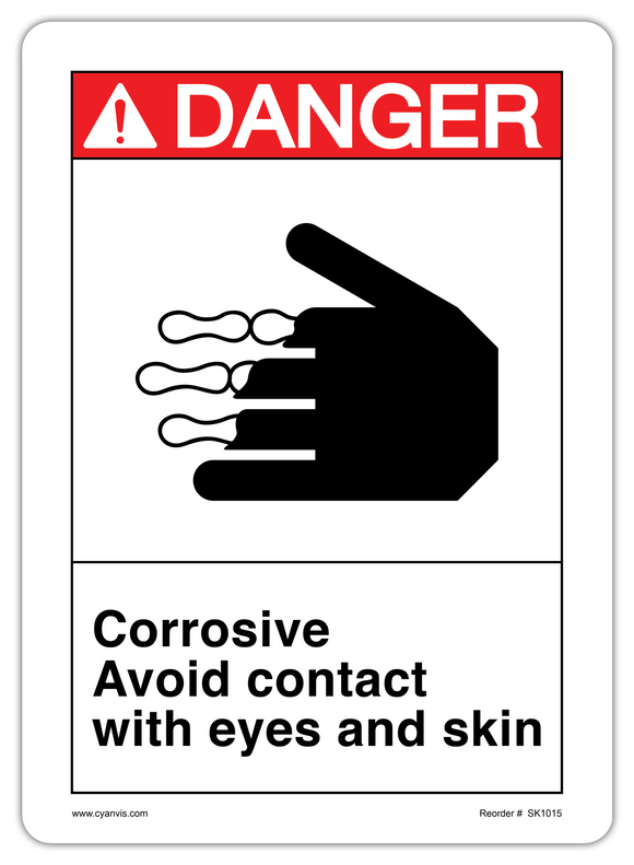 CYANVIS safety sign legend, ANSI - Danger - CORROSIVE AVOID CONTACT WITH EYES AND SKIN