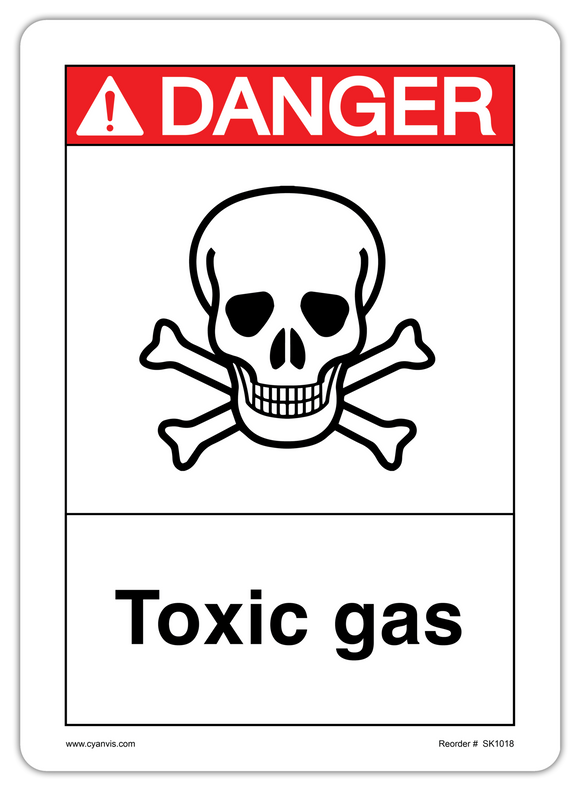 CYANVIS safety sign legend, ANSI - Danger - TOXIC GAS