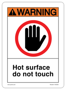 CYANVIS safety sign legend, ANSI - Warning - HOT SURFACE DO NOT TOUCH (SYMBOL 1)