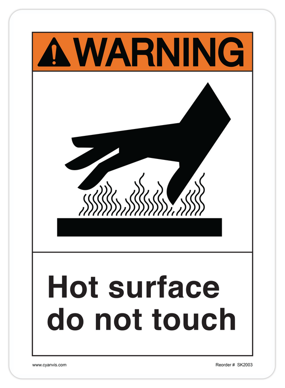 CYANVIS safety sign legend, ANSI - Warning - HOT SURFACE DO NOT TOUCH (SYMBOL 2)