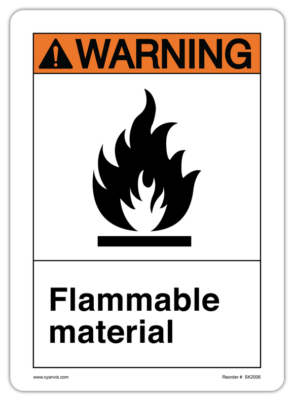 CYANVIS safety sign legend, ANSI - Warning - FLAMABLE MATERIAL