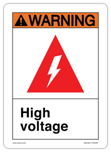 CYANVIS safety sign legend, ANSI - Warning - HIGH VOLTAGE