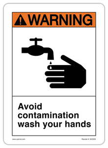 CYANVIS safety sign legend, ANSI - Warning - AVOID CONTAMINATION WASH YOUR HANDS