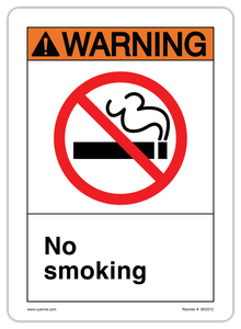 CYANVIS safety sign legend, ANSI - Warning - NO SMOKING