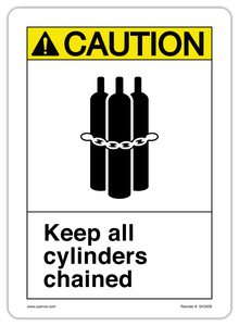 CYANVIS safety sign legend, ASNI - Caution - KEEP ALL CYLINDERS CHAINED