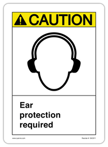 CYANVIS safety sign legend, ASNI - Caution - EAR PROTECTION REQUIRED