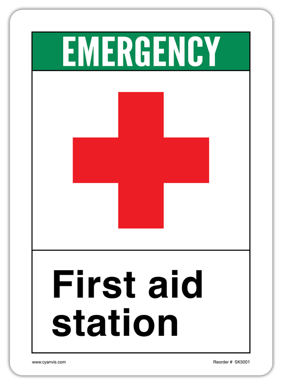 CYANVIS safety sign legend, ANSI - Safety First - FIRST AID STATION