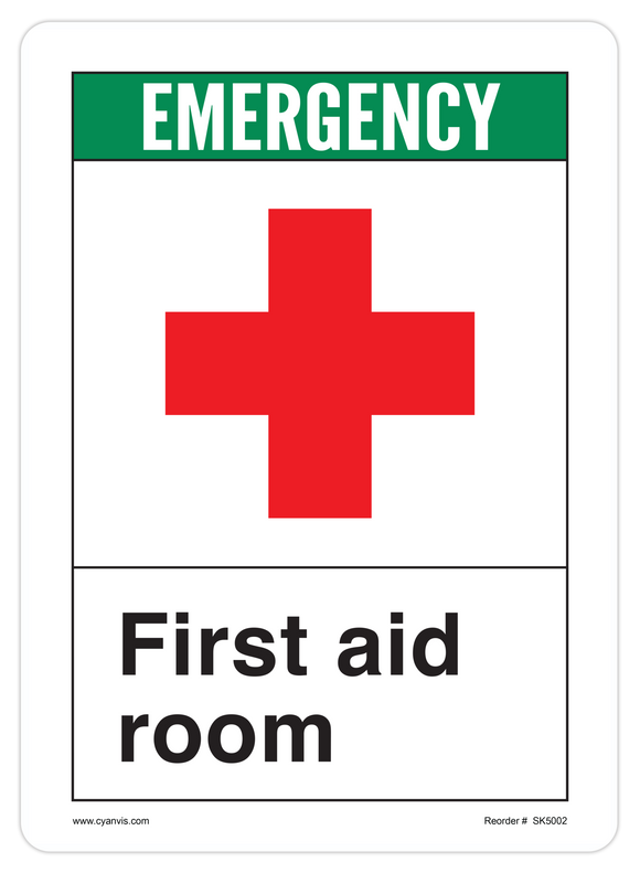 CYANVIS safety sign legend, ANSI - Safety First - FIRST AID ROOM