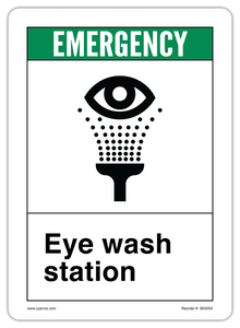 CYANVIS safety sign legend, ANSI - Safety First - EYE WASH STATION