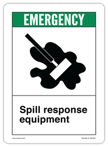 CYANVIS safety sign legend, ANSI - Safety First - SPILL RESPONSE EQUIPMENT