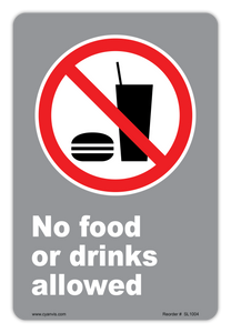 CYANVIS safety sign legend, CSA - Regulatory - FO FOOD OR DRINKS ALLOWED