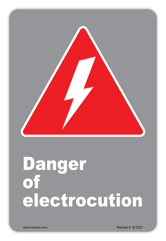 CYANVIS safety sign legend, CSA - Danger - DANGER OF ELECTROCUTION