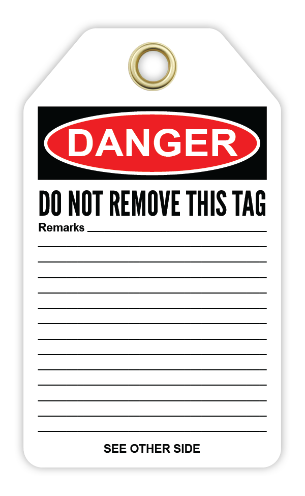 CYANVIS safety tag legend, Danger - CONTAINS ASBESTOS FIBERS