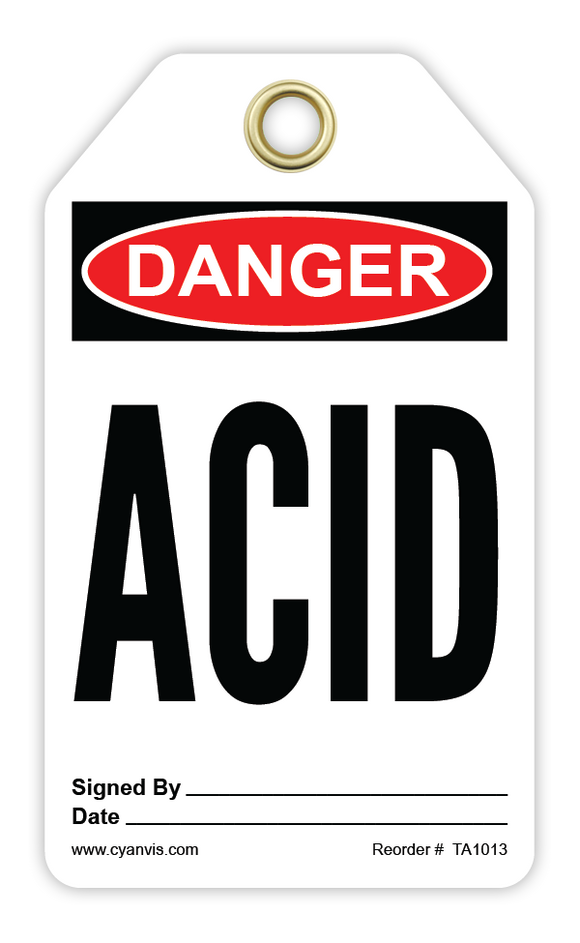 CYANVIS safety tag legend, Danger - ACID