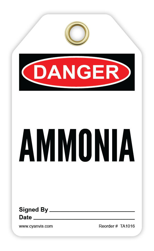 CYANVIS safety tag legend, Danger - AMMONIA