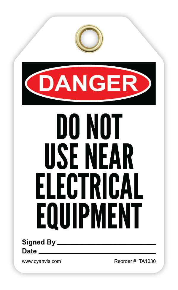 CYANVIS safety tag legend, Danger - DO NOT USE NEWAR ELECTRICAL EQUIPMENT