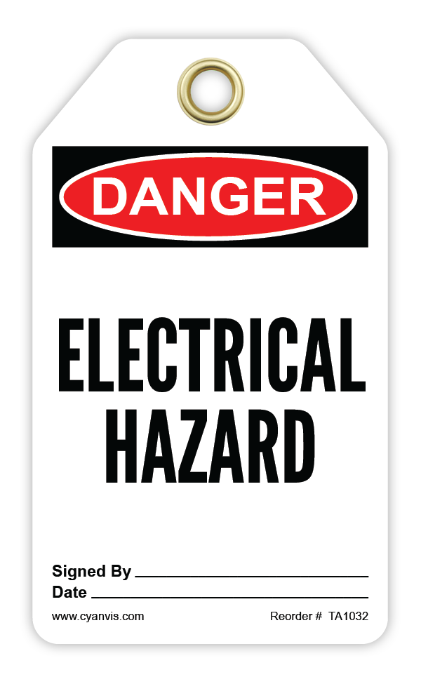 CYANVIS safety tag legend, Danger - ELECTRICAL HAZARD