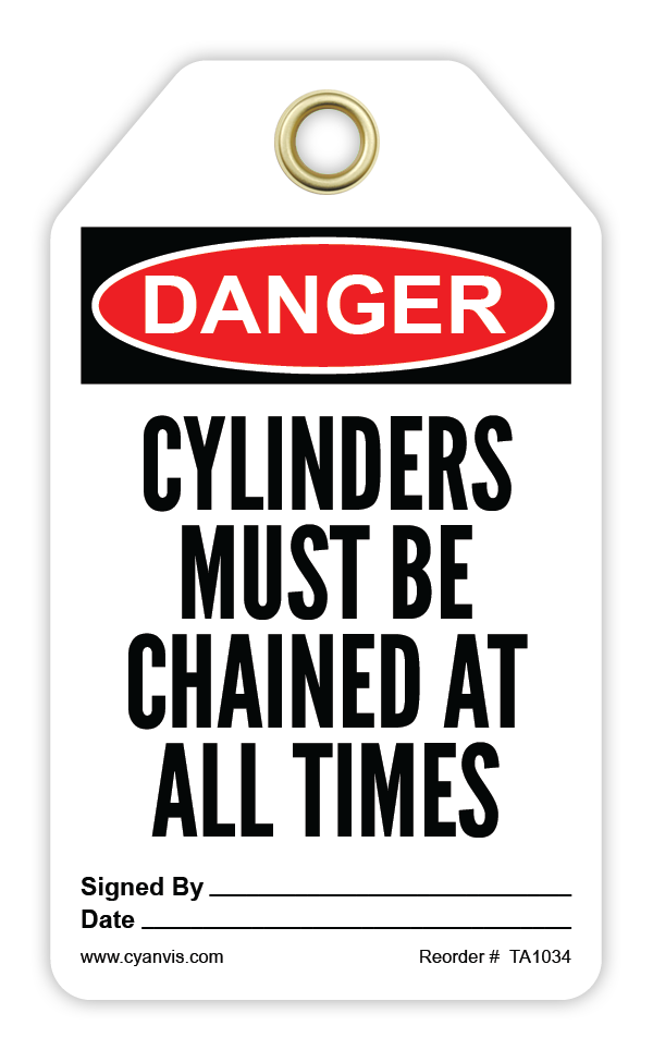 CYANVIS safety tag legend, Danger - CYLINDERS MUST BE CHAINED AT ALL TIMES