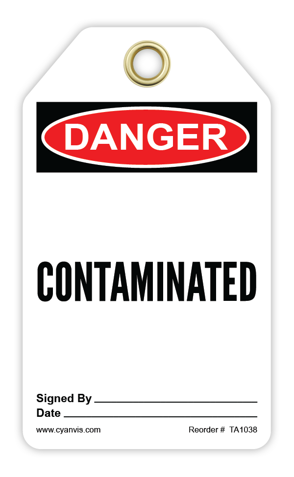 CYANVIS safety tag legend, Danger - CONTAMINATED