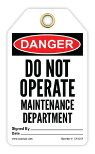 CYANVIS safety tag legend, Danger - DO NOT OPERATE. MAINTENANCE DEPARTMENT