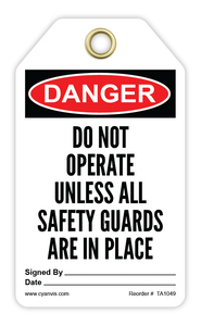 CYANVIS safety tag legend, Danger - DO NOT OPERATE UNLESS ALL SAFETY GAURDS ARE IN PLACE