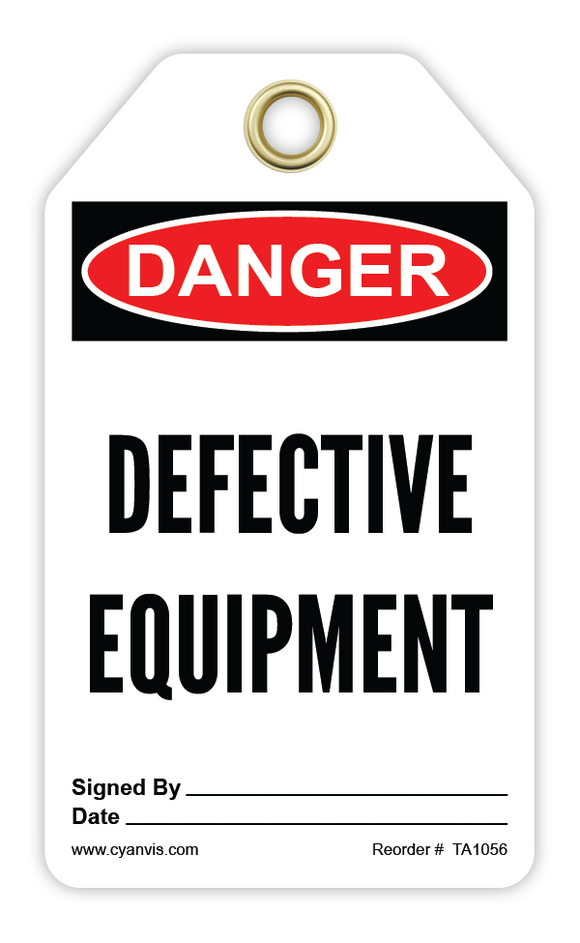 CYANVIS safety tag legend, Danger - DEFECTIVE EQUIPMENT