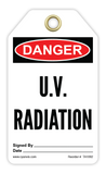 CYANVIS safety tag legend, Danger - U.V. RADIATION