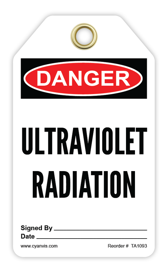 CYANVIS safety tag legend, Danger - ULTRAVIOLET RADIATION