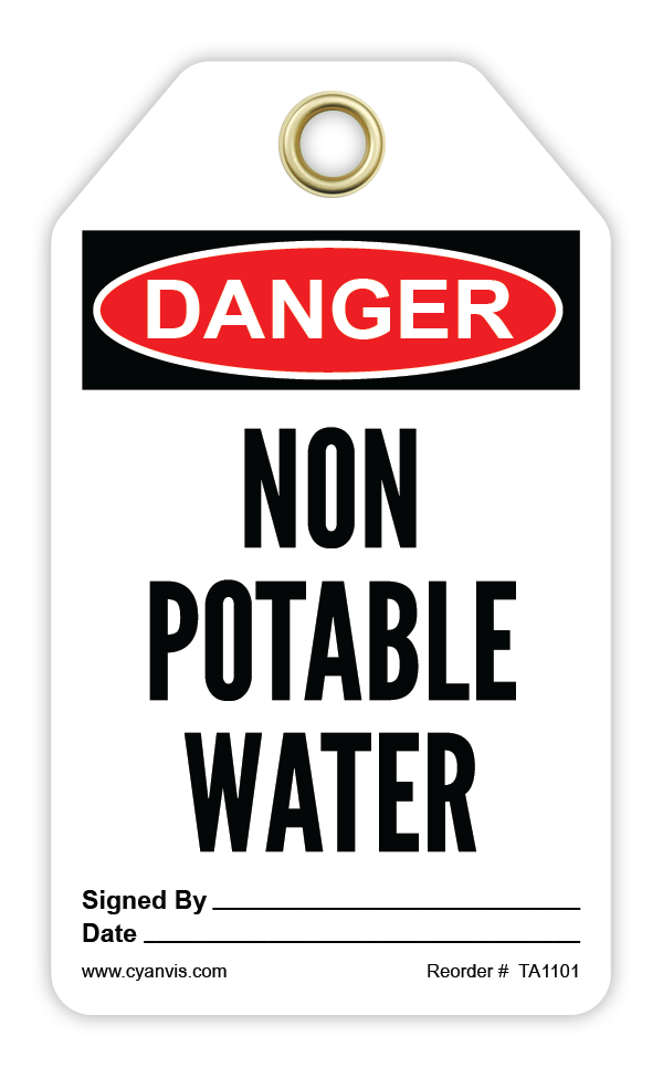 CYANVIS safety tag legend, Danger - NON POTABLE WATER