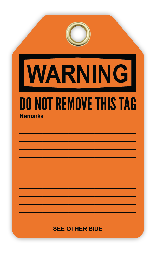 CYANVIS safety tag legend, Warning - DO NOT REMOVE THIS TAG