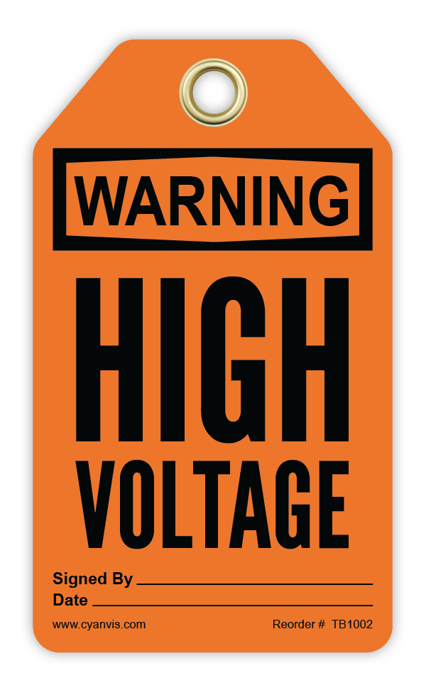 CYANVIS safety tag legend, Warning - HIGH VOLTAGE