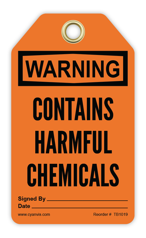 CYANVIS safety tag legend, Warning - CONTAINS HARMFUL CHEMICALS