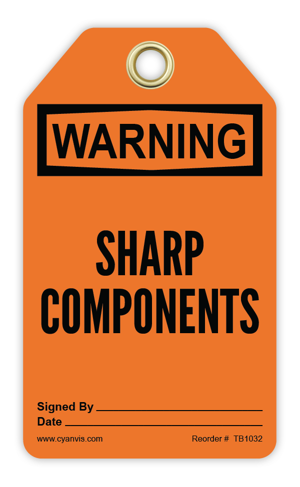 CYANVIS safety tag legend, Warning - SHARP COMPONENTS