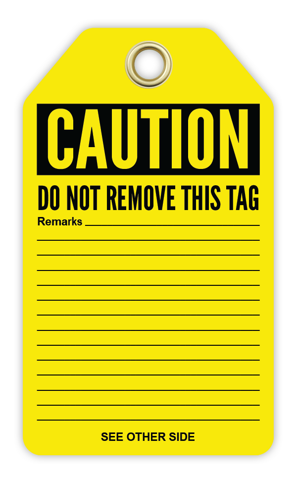 CYANVIS safety tag legend, Cautiom - DO NOT OPERATE
