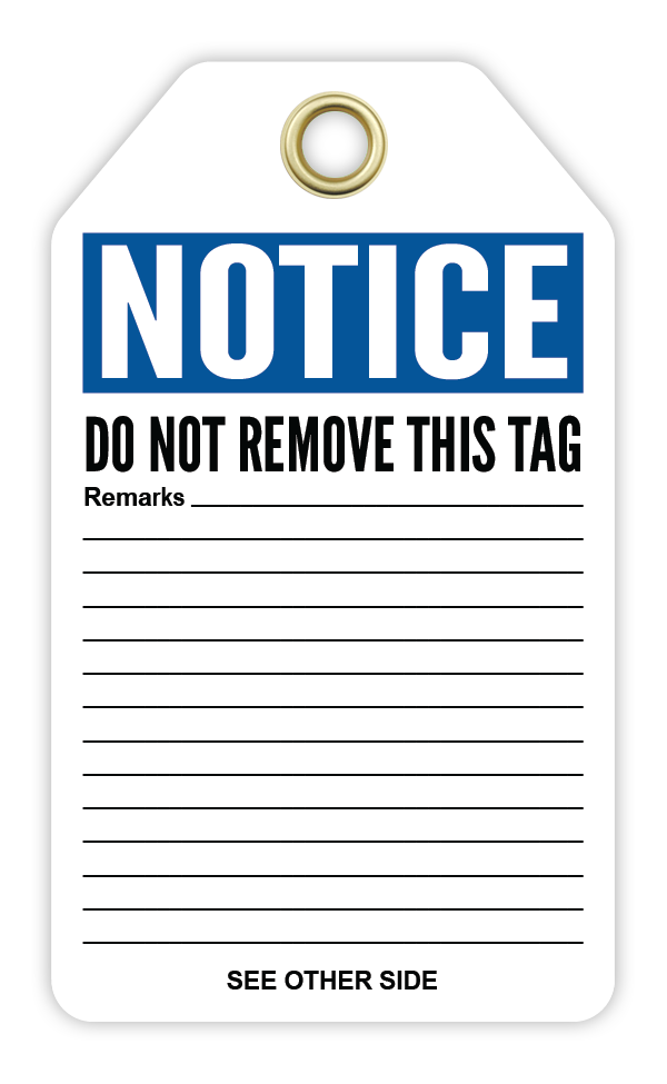 CYANVIS safety tag legend, Notice - TEMPORARILY OUT OF USE