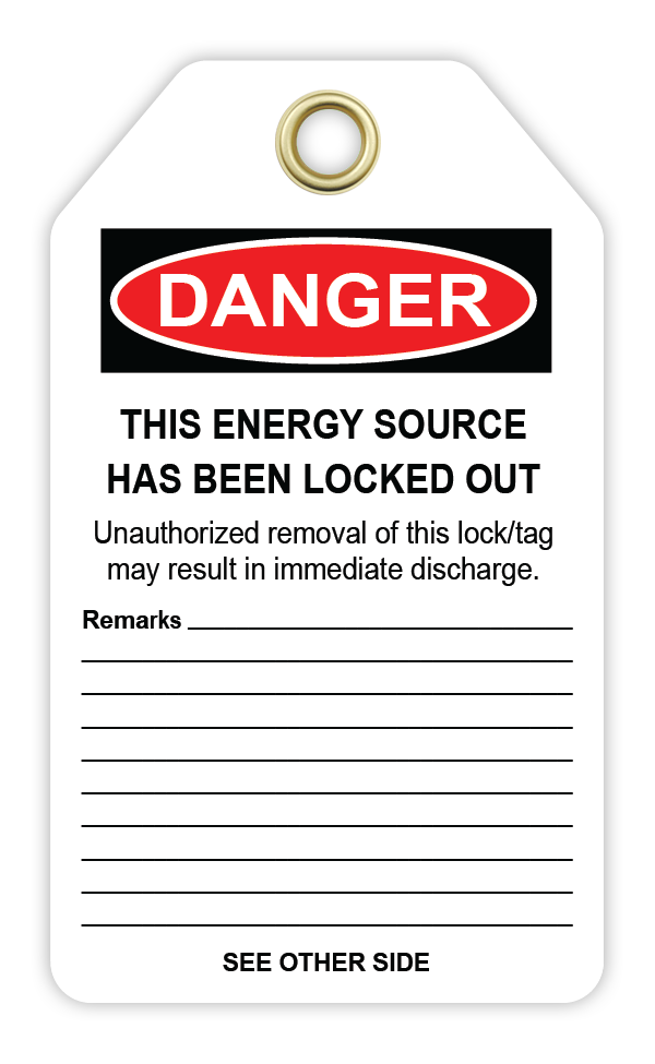 CYANVIS safety tag legend, Lockout - DO NOT ENERGIZE. THIS LOCK/TAG MAY  BE REMOVED BY