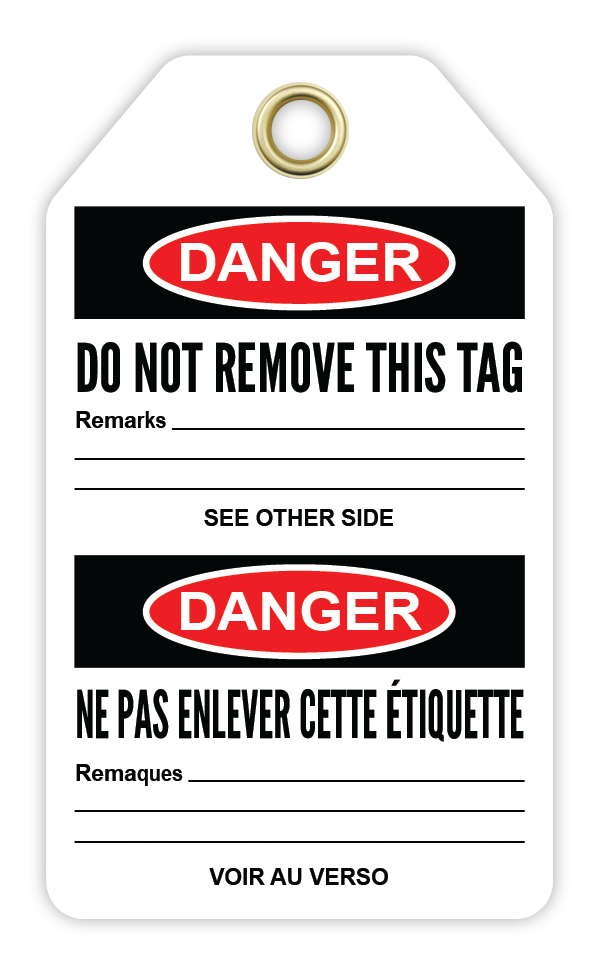 CYANVIS safety tag legend, Bilingual - Danger - DO NOT OPERATE - DÉFENSE D'ACTIONNER