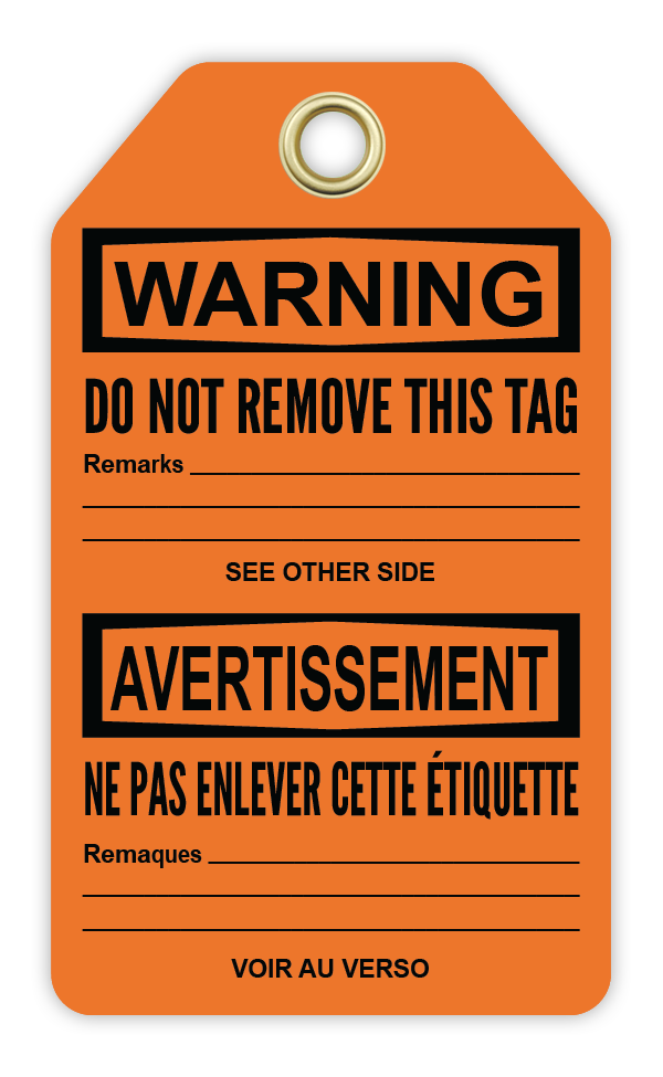 CYANVIS safety tag legend, Bilingual - Warning - DEFECTIVE DO NOT USE - DÉFECTUEUX DÉFENSE D'UTILISER