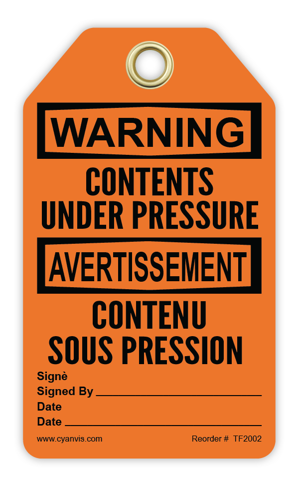 CYANVIS safety tag legend, Bilingual - Warning - CONTENTS UNDER PRESSURE - CONTENU SOUS PRESSION