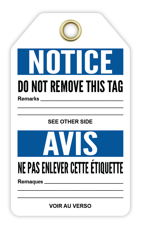 CYANVIS safety tag legend, Bilingual - Notice - PERSONAL PROTECTIVE EQUIPMENT REQUIRED - AVIS - ÉQUIPEMENT DE PROTECTION PERSONNELLE REQUIS