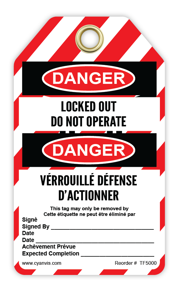 CYANVIS safety tag legend, Bilingual - Lockout - LOCKED OUT DO NOT OPERATE - DANGER - VÉRROUILLÉ DÉFENSE D'ACTIONNER