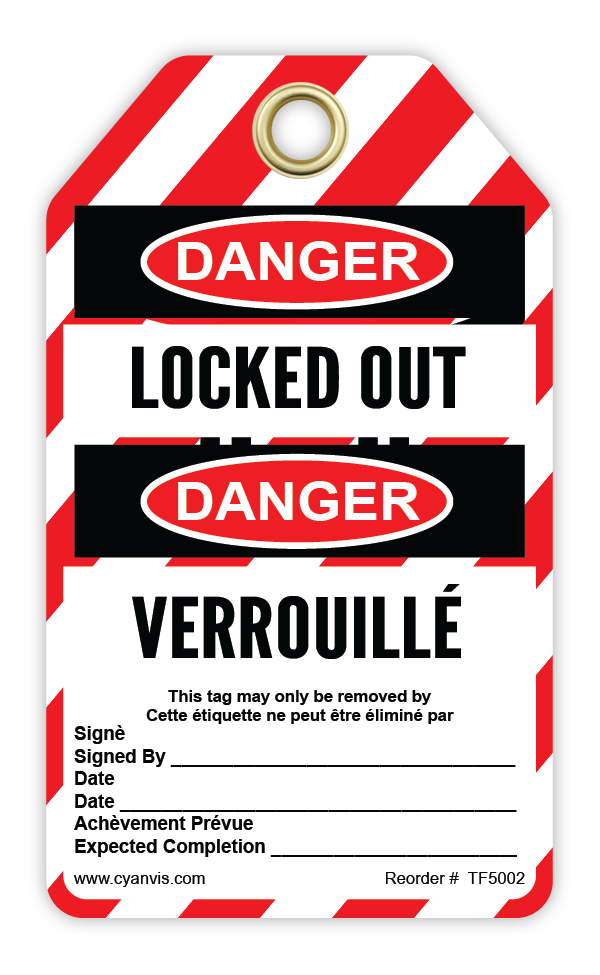 CYANVIS safety tag legend, Bilingual - Lockout - LOCKED OUT - DANGER - VERROUILLÉ