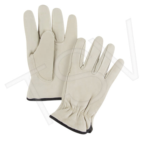 Grain Cowhide Drivers Fleece Lined Gloves