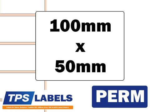 Thermal Transfer Gloss Polypropylene Labels - 100mm x 50mm for Industrial Printers - TPS Labels
