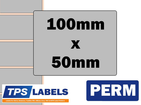 Thermal Transfer Silver Polyester Labels - 100mm x 50mm for Desktop Printers - TPS Labels