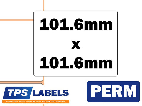 Direct Thermal Polypropylene Labels - 101.6mm x 101.6mm for Industrial Printers - TPS Labels