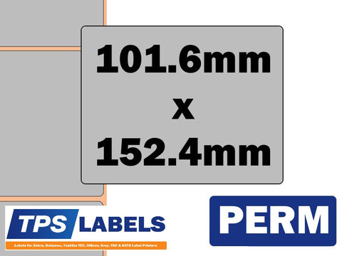Thermal Transfer Silver Polyester Labels - 101.6mm x 152.4mm for Industrial Printers - TPS Labels