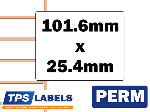 Thermal Transfer Gloss Polypropylene Labels - 101.6mm x 25.4mm for Industrial Printers - TPS Labels