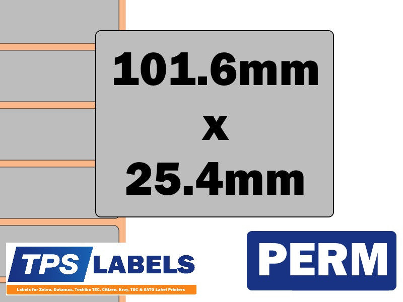 Thermal Transfer Silver Polyester Labels - 101.6mm x 25.4mm for Desktop Printers - TPS Labels